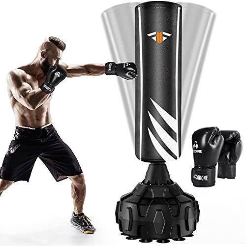 Boxsack Standboxsäcke Trainingsgeräte mit Boxhandschuhen, Erwachsene Freistehender Standboxsack, MMA...