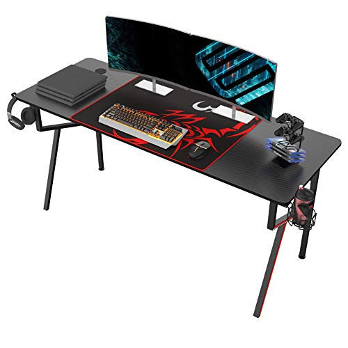 Eureka Gaming Schreibtisch 160 * 60 cm Gaming Tisch Gaming Computertisch PC Schreibtisch mit Getränkehalter...