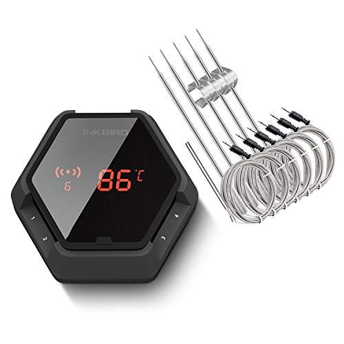 Inkbird IBT-6XS Grillthermometer mit 6 Sonden, Magnetisch BBQ Thermometer Bluetooth Fleischthermometer mit...