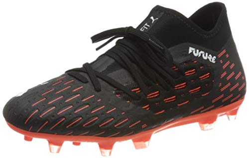 Puma Future 6.3 Netfit Fg/ag Jr, Unisex-Kinder Fußballschuh, Schwarz-Puma Weiß-Schockierende Orange