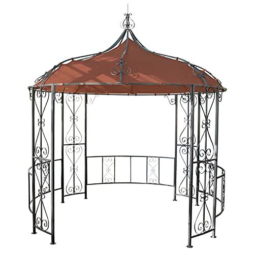 Mendler Pergola Almeria, Rundpavillon Garten Pavillon, stabiles Stahl-Gestell Ø 3m - terrakotta-braun