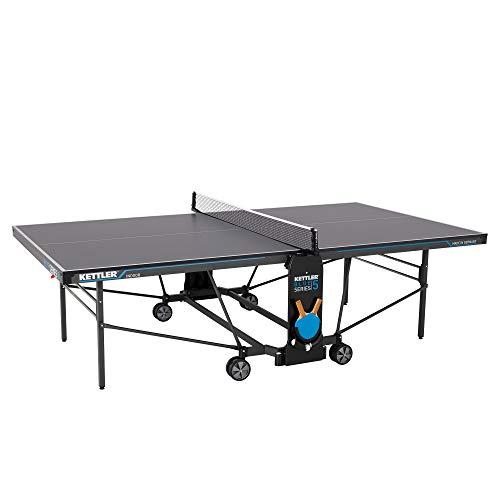 Kettler K5 Indoor, Tischtennisplatte, Turniermaße, robuste 19mm Feinspanplatte, Farbe grau, klappbar, TÜV...
