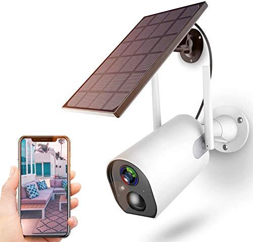 Überwachungskamera Akku Solarpanel,1080P Kabellos Outdoor WLAN Kamera 10400mAh Batterie,4DB Wireless...