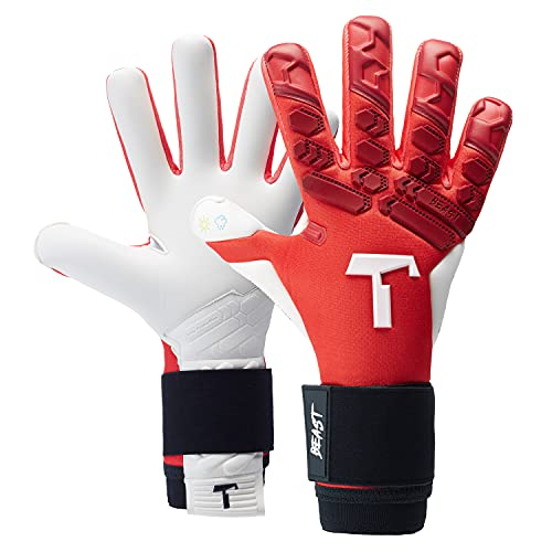 T1TAN Red Beast 2.0 Torwarthandschuhe mit Fingerschutz, Fußballhandschuhe Herren & Damen - 4mm Profi Grip -...