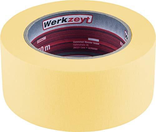 Werkzeyt Kreppband 50 m x 50 mm - Extra breit - Für einfache Abdeck- & Malerarbeiten - Universell einsetzbar...