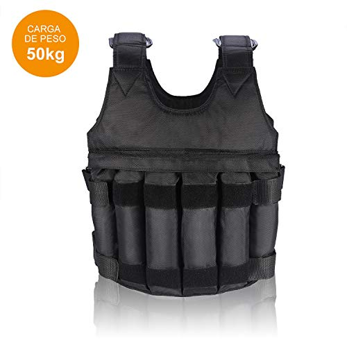 Gewichtsweste, 50KG Verstellbare Krafttraining Weight Leere Vest Jacket Trainingsweste Training Fitness Sport...