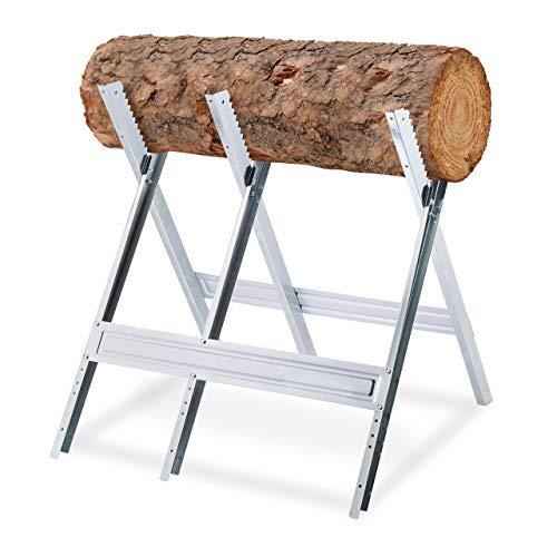 Relaxdays Sägebock, Holzsägearbeiten, klappbar, Sägegestell für Kettensägen, Stahl, H x B x T: 81 x 75,5...