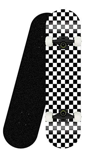 Teen Adult Anfänger Komplettes Skateboard 31``x8 '' Check Pattern 7-lagiges Maple Platform Double Kick...