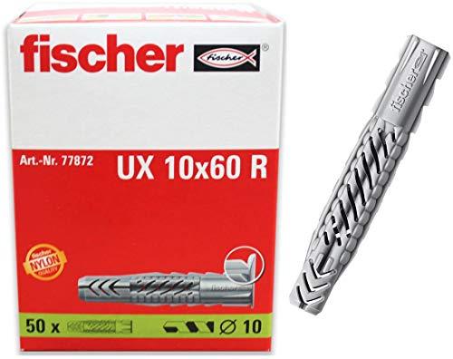 fischer UX 10 x 60 R - Universaldübel zum Befestigen von Bildern, Gardinenschienen, Handtuchhaltern in Beton,...