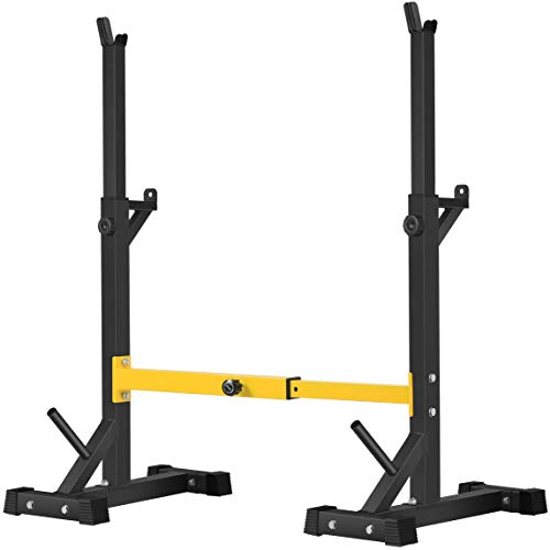BangTong&Li 1 Paar Kniebeugenständer für Langhanteln, frei drückbar, verstellbar (Gelb)