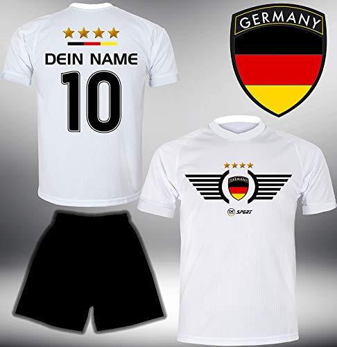 Deutschland Trikot Set 2018 mit Hose GRATIS Wunschname + Nummer im EM WM Weiss Typ #DE2th - Geschenke für...
