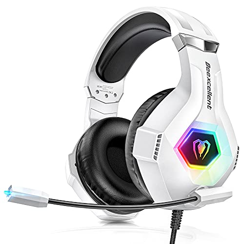 Gaming Headset für PS4 PC PS5 Xbox One, RGB LED Licht Crystal 3D Gaming Surround Sound Professional...