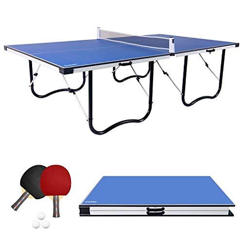 WIN.MAX 9FT Tischtennisplatte, Klappbare Tischtennistisch mit U Form Metallprofilrahmen und einstellbarem Netz...