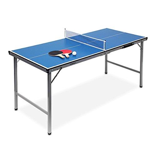 Relaxdays Klappbare Tischtennisplatte, HBT: 71 x 150 x 67 cm, tragbar, Netz, Bälle, Schläger, outdoor, MDF,...