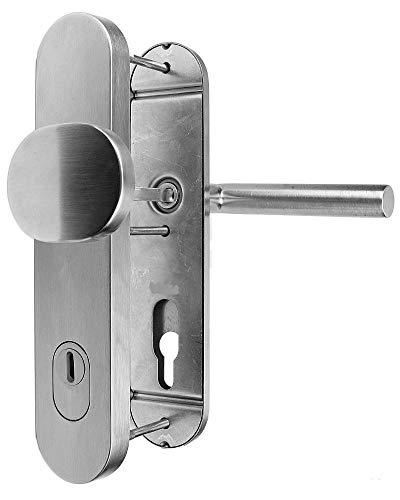 Edelstahl Schutzbeschlag für Haustüren ES 1 Knopf/Drücker mit Zylinder- Abdeckung
