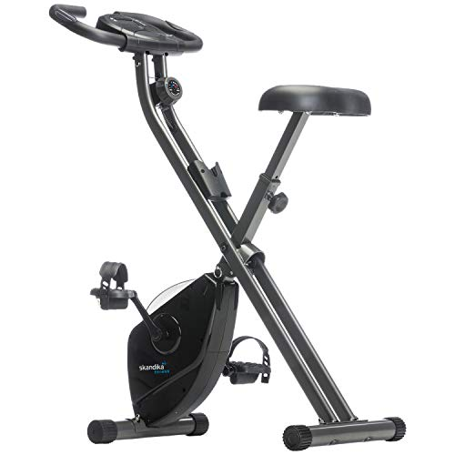 skandika Foldaway X-1000 Fitnessbike Heimtrainer x-Bike F-Bike klappbar mit Handpuls-Sensoren, 8-stufiger...