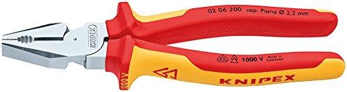 KNIPEX 02 06 200 SB Kraft-Kombizange verchromt VDE 200 mm