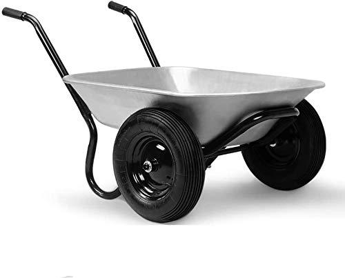 Gardebruk Schubkarre 2 Rad 150kg 100L Stahlfelge 2 Luftreifen Autoventil Gleitlager
