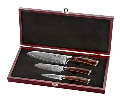 Wakoli 3er Damastmesser-Set mit Holzbox - Klingenlängen von 8,50 cm bis 17,00 cm VG-10, sehr hochwertiges...