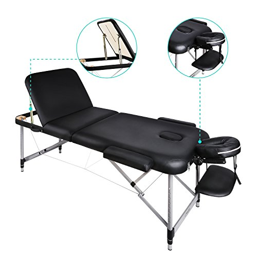 Naipo Deluxe 3 Zonen mobile Massageliege mit Breiten 70cm Massage Kosmetik Bank Tisch klappbar...