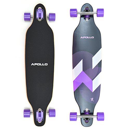Apollo Longboard Makira Komplettboard mit High Speed ABEC Kugellagern, Drop Through Freeride Skaten Cruiser...