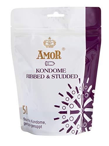 AMOR 'Gerippt und Genoppt' 50er Pack Premium Kondome mit strukturierter Oberfläche, gefühlsecht und extra...