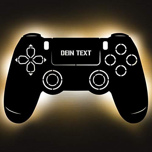 Gaming Controller 4 Lampe aus Holz - personalisierbares Geschenk für Männer - Gaming Zimmer Deko - Gamingpad...