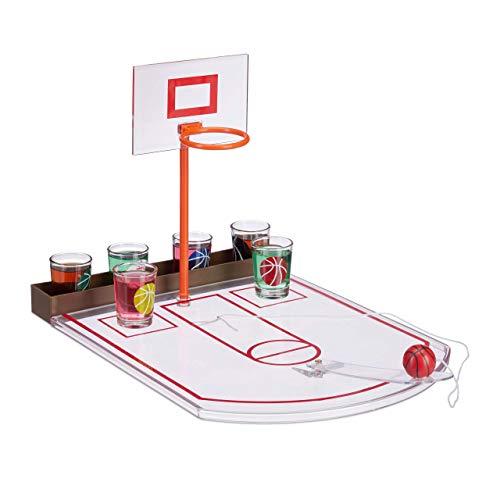 Relaxdays Basketball, transparent Trinkspiel, lustig, 6 Glas Shotgläser, Korb + Ball, Partyspiel HxBxT 22,5 x...