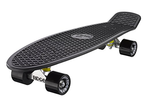 Ridge Skateboard 69 Cm 27 Inch Nickel Cruiser Retro Stil M Rollen Komplett Fertig Montiert, Black/Black