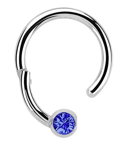 Piercing 316l Stahl Ring BCR, Clicker 1,2 x 10 mm mit 3 mm Steinkugel in dunkelblau