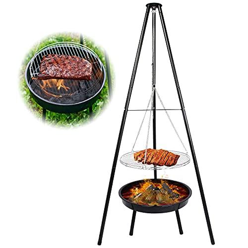 Schwenkgrill Dreibein mit Feuerschale, Grillen für Garten,Feuerschale mit Grillrost & Verstellbarer...