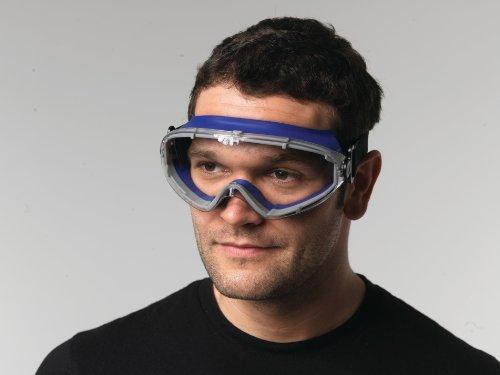 Vollsichtschutzbrille klar Rahmen blau, PC-Scheibe klar, beschlagfrei EN166