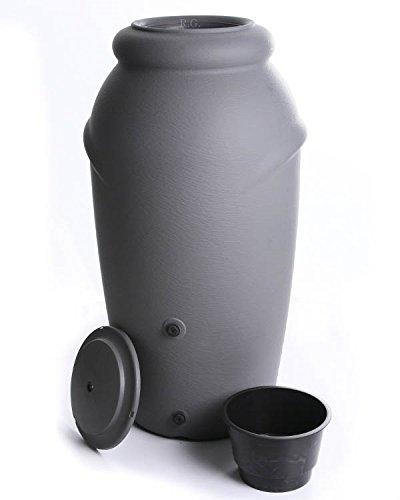 Regenwassertonne Regentonne Regenbehälter Regentank Amphore 210L 3 Farben Wasserhahn wählbar (Grau mit...