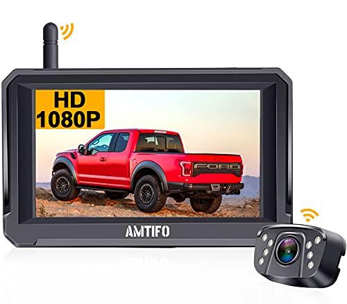 Rückfahrkamera Funk mit 5'' HD 1080P Monitor unterstützt 2 rückfahrkamera kabellos Digitalsignal,IP69...