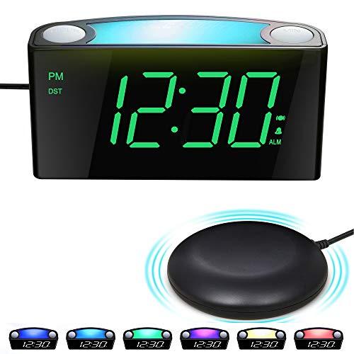 Vibrationswecker für Gehörlose&tiefschläfer, Wecker mit Lautem Alarm, Bett-Shaker, Großes...