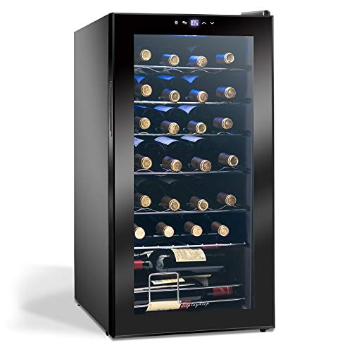 Display4top Vino Weinkühlschrank Kompressionskühler Getränkekühlschrank Unterstützt 28 Flaschen,...