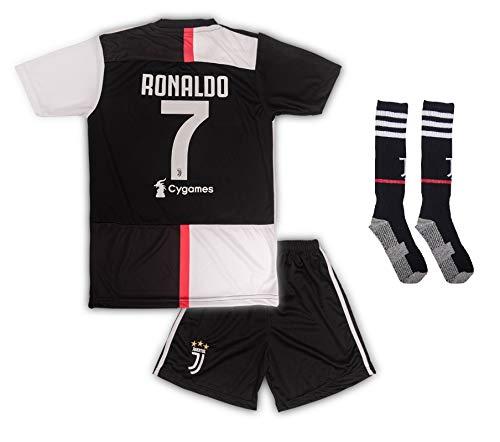 Juventus Ronaldo Trikot Set #7 Heim 2018/19 Kinder Fussball Trikot Mit Shorts und Socken Kinder (13-14 Jahre)
