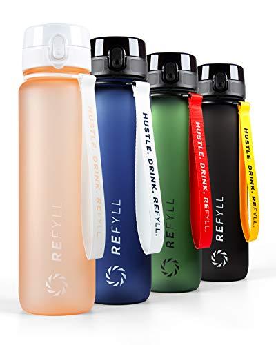 "REFYLL X Trinkflasche 1L ""Go"" I Trinkflasche Sport 1000ml -BPA Frei I Auslaufsichere Fitness Trinkflasche..."