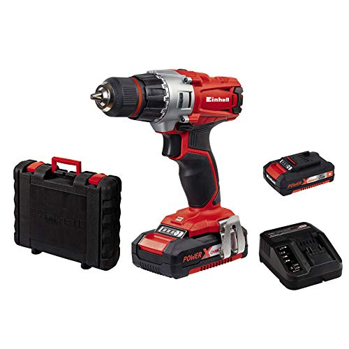 Einhell Akkuschrauber TE-CD 18/2 Li Power X-Change (Li-Ion, 18 V, 2 Gang, 44 Nm, LED-Licht, Koffer, inkl. 2 x...