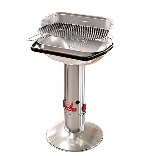 Barbecook Holzkohlegrill Säulengrill Stand-Grill eckig 3-Fach höhenverstellbar mit Quick-Stop, Silber,...