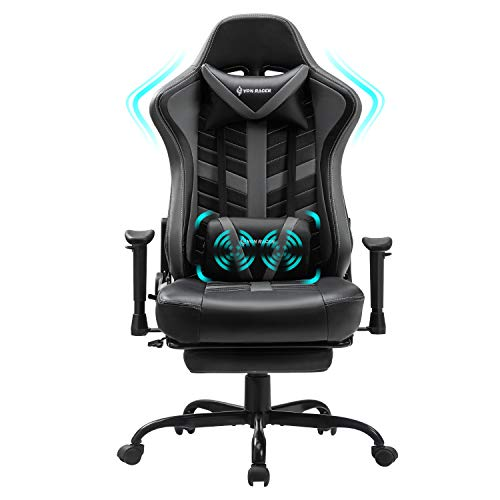 VON RACER Massage Gaming Stuhl mit Fußstütze - Racing Computer Schreibtisch Büro Drehbarer Arbeitsstuhl...