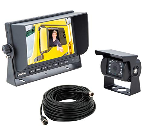 "VSG24 24191 – 7"" LKW-Set HD-Auflösung Rückfahrsystem, 120° Linse, 12-24 V, IP67 Kamera Set inkl. 20 m..."
