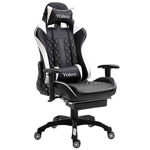 YOLEO Gaming Stuhl, bequemer Gaming Sessel 150 kg Belastbarkeit, Kunstleder PC Stuhl drehbar höhenverstellbar...