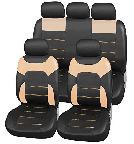 Upgrade4cars Auto-Sitzbezüge Beige Leder-Optik | Universal Auto-Sitzschoner Set für Sommer & Winter |...