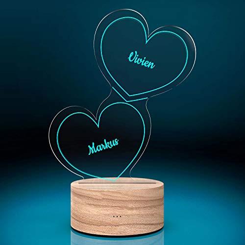 Personalisierte Herz-Leuchte mit Namensgravur | LED-Herz mit Namen und Farb-Lichtern als Geschenk-Idee |...