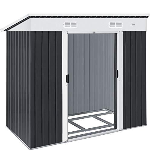 KESSER® - Gerätehaus L Metall 3,4 m³ mit Fundament | 196x122x180 cm | 2X Schiebetür & Fundament |...