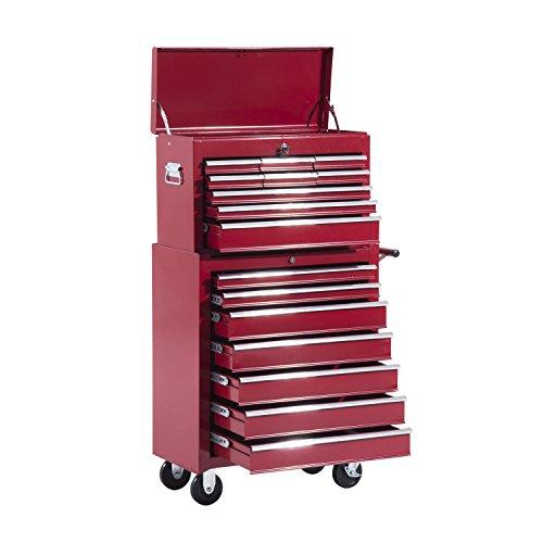 HOMCOM Fahrbarer Werkzeugwagen Werkstattwagen Rollwagen Werkzeugkasten (Rot)