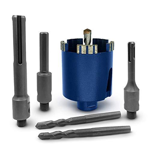 SEDION ® Diamant Dosenbohrer 68mm großer Set mit SDS Plus, SDS Max & Sechskant Adapter + 3x Zentrierbohrer -...