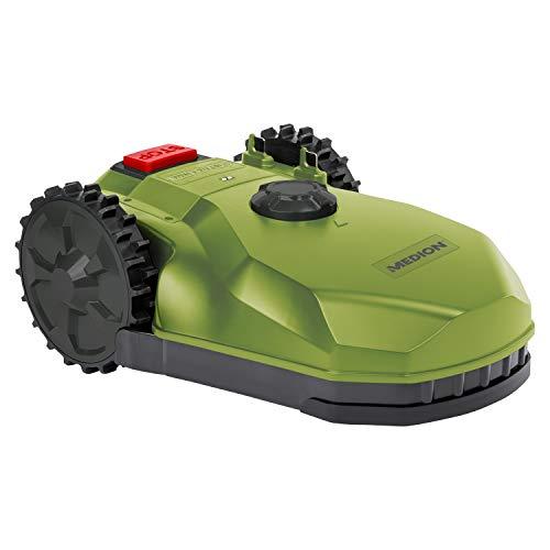 MEDION Mähroboter (selbstfahrender Rasenmähroboter für kleine Gärten, bis 400 qm Rasenfläche, Steigung...