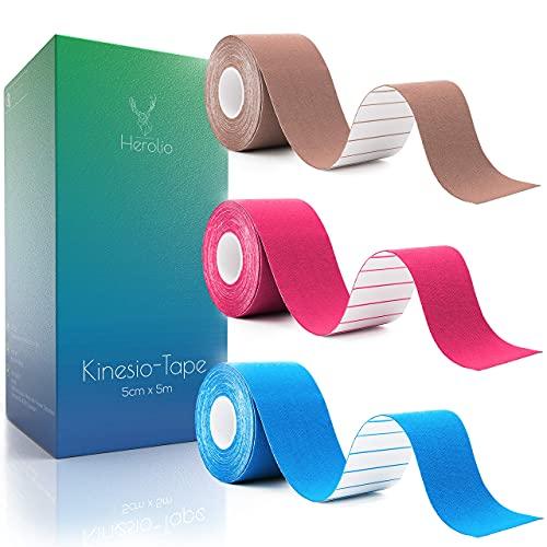 Herolio Physio Tape, Kinesiology Tape - Kinesiotapes Set (3 x 5cm x 5m)